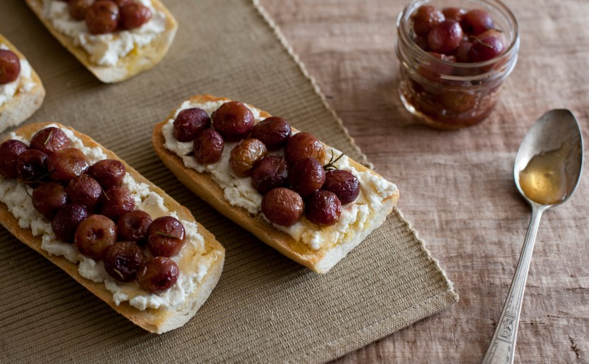 Roasted Grape and Goat Cheese Flatbreads
