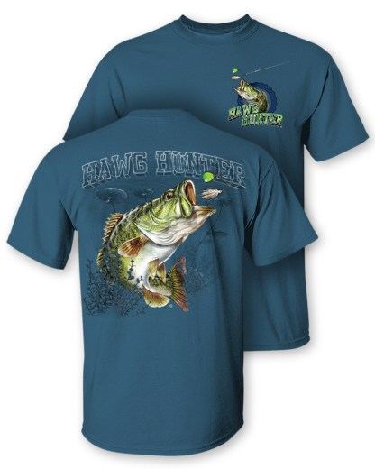 """Follow the Action- Largemouth Bass """"Hawg Hunter"""" Two-Sided T-Shirt"""