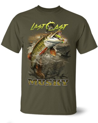 "Follow the Action- Musky ""Last Cast"" One-Sided T-Shirt"