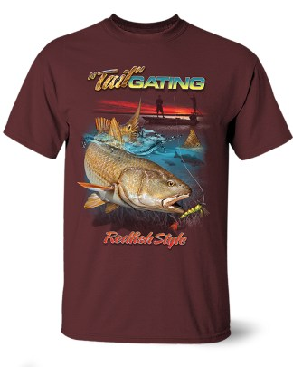 """Follow the Action - Redfish """"Tail""""Gating One-Sided T-Shirt"""