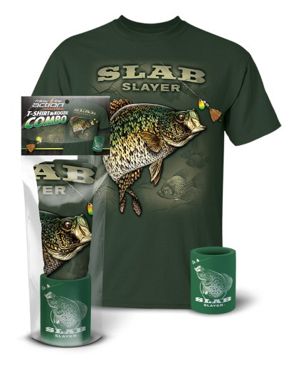 Follow the Action - Crappie Slab Slayer T-Shirt and Koozie® Combo Gift Set