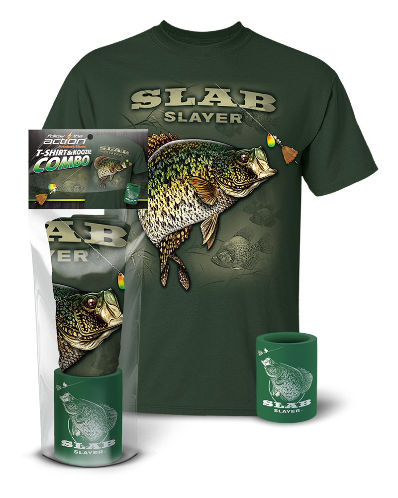 Crappie slab slayer t shirt and koozie combo gift set for Shirts and apparel koozie