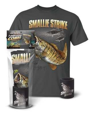 "Follow the Action - Smallmouth Bass ""Smallie Strike"" T-Shirt and Koozie® Combo Gift Set"