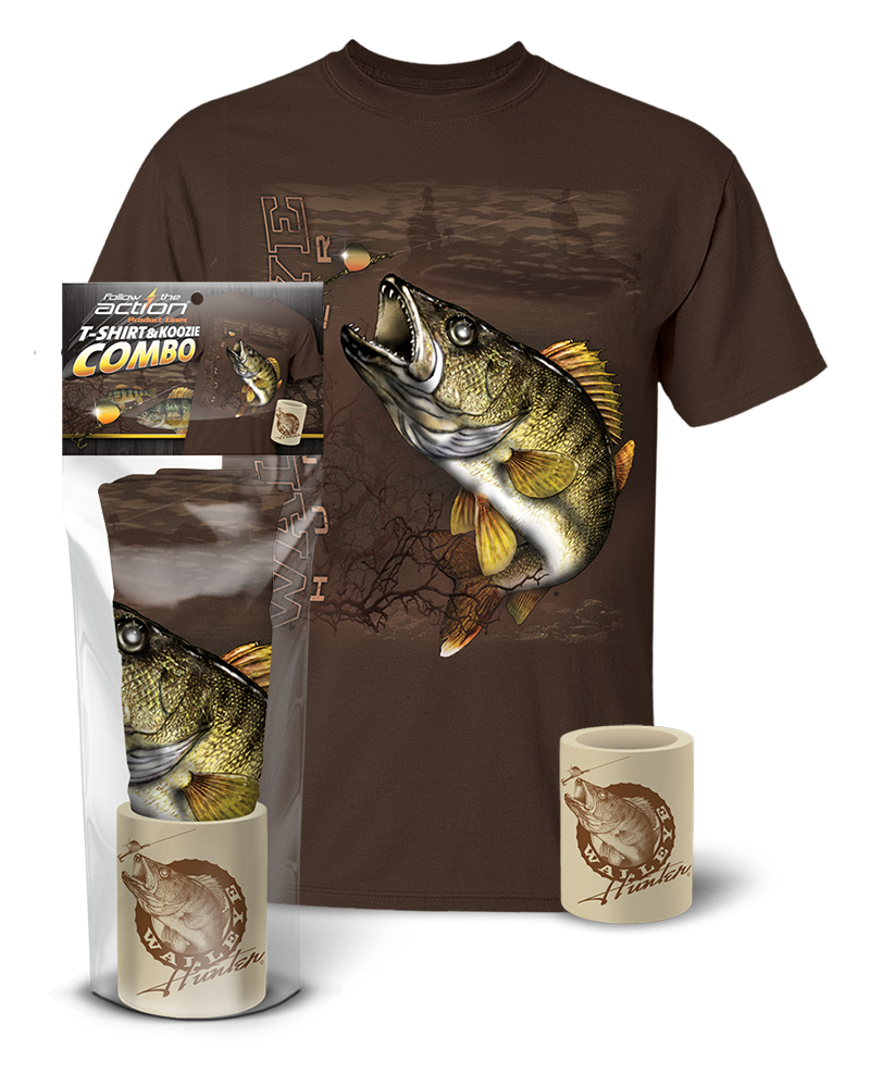 Walleye hunter t shirt and koozie combo gift set for Shirts and apparel koozie