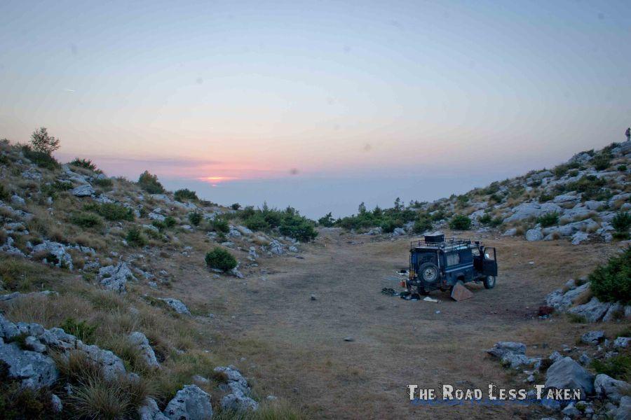 Wild camping in Landrover near Tirana, Albania