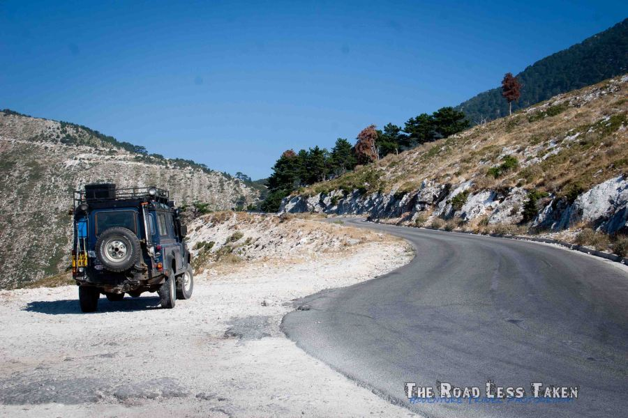 Albanian coast in a Land Rover Defender