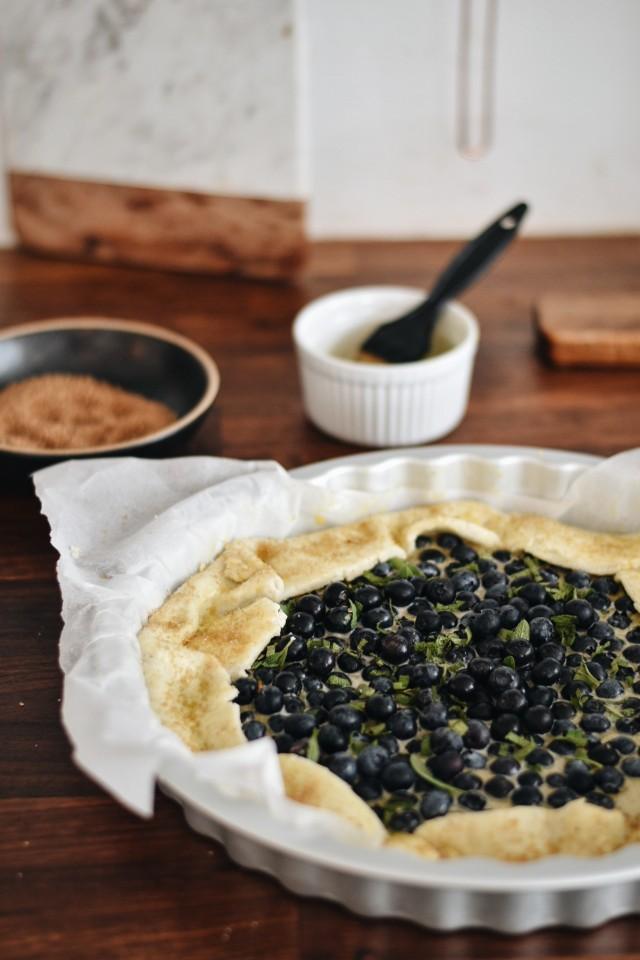 walnut sage blueberry galette