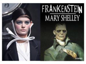 Frankenstein: un look della sfilata autunno inverno 2016 di Thom Browne. Un fil di ferro all'interno del nastro attorno al collo o del papillon.