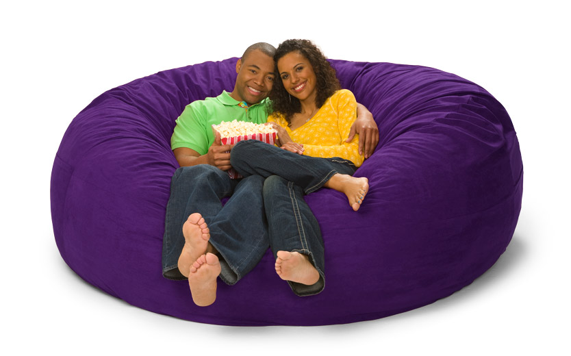 leather and fabric sofa in same room lowes bed big one lovesac giant love sack of foam