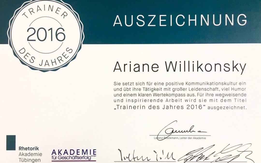 Ariane Willikonsky ist Trainerin des Jahres 2016