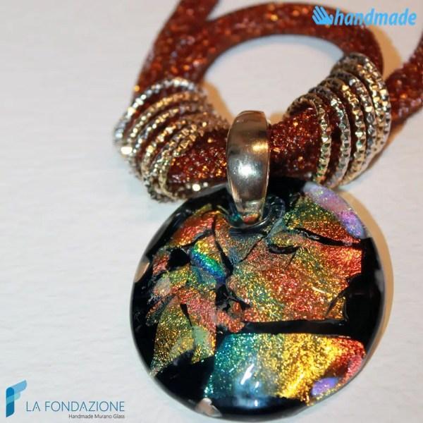 Collana Rete Bronzo Dicroico in vetro di Murano - COLL0080