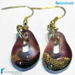 Orecchini Sparkling Gold in vetro di Murano color Ametista