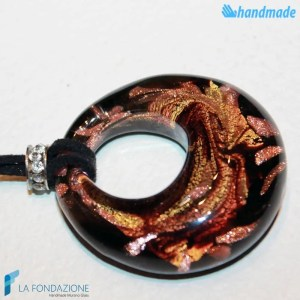 Fire Peacock Hole Pendant made in Murano glass - PEND0051