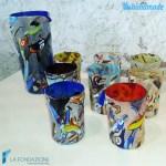 Set di 8 Goti con caraffa Painted in vetro di Murano - GOTI0017