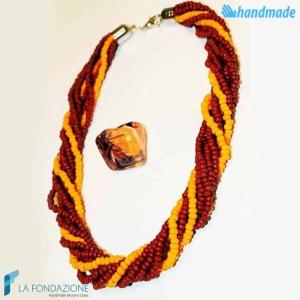 Parure Torchon maxi 9 fili con anello e collana in vetro di Murano - PARU0032