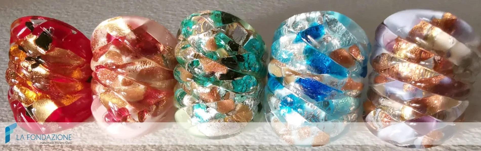 Anelli Arlecchino - La Fondazione - Handmade Murano glass Venice