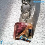 Portachiavi Calcedonio Acquario Ametista in vetro di Murano – KEY008