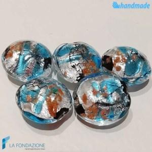 Perle Schisse Onda Azzurra in vetro di Murano - PERLA005