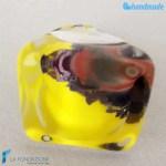 Anello Cubo Calcedonio Limone in vetro di Murano – RINGS0075