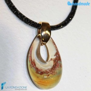 Avory drop-shaped pendant in Chalcedony with crystal net collar made in Murano glass - PEND0058
