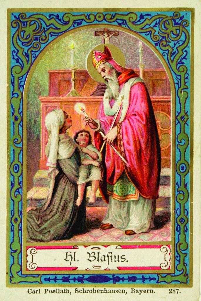 San-Biagio, immaginetta devozionale C.Poellath, cromolitografia Bayern, fine secolo XIX