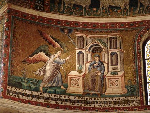 Roma, Santa Maria in Trastevere, Pietro Cavallini, mosaico dell'Annunciazione, 1291