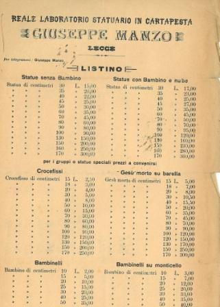 Listino dei prezzi delle opere del reale laboratorio di Giuseppe Manzo