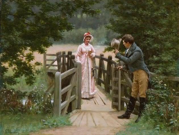Il corteggiatore galante, di Edmund Blair Leighton (1853-1922); immagine tratta da http://s663.photobucket.com/user/GeorgianaGarden/media/Immagini/Dipinti%20-%20analisi/255425B15D.jpg.html