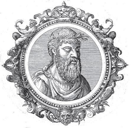 Omero, immagine tratta da Icones veterum aliquot ac recentium medicorum philosophorumque elogiolis suis editae, opera I. Sambuci, Auterpiae, 1574