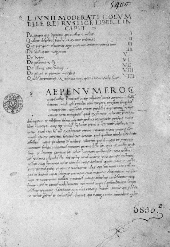 l'incipit del De re rustica di Columella in un manoscritto del XV secolo (immagine tratta da http://gallica.bnf.fr/ark:/12148/btv1b9065994p.r=columella.langEN)
