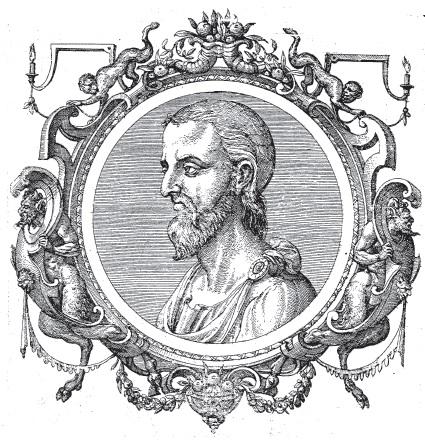 Dioscoride, immagine tratta da Icones veterum aliquot ac recentium medicorum philosophorumque elogiolis suis editae, opera I. Sambuci, Auterpiae, 1574.
