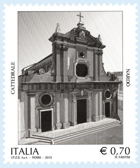 30 novembre 2013. Un francobollo delle Poste Italiane celebra la Cattedrale di Nardò