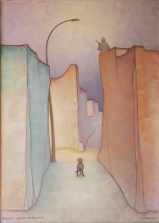 Paesaggio Urbano con Cacciatore (olio su tela ) cm. 100 x 75