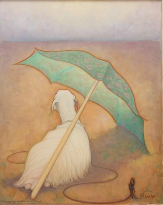 Paesaggio con ombrellone verde a fiori  ( olio su tela ) cm. 115 x 90
