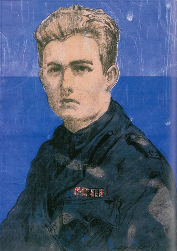 Hemingway - grafite, inchiostri galleggianti e carte olografiche. Colorato con a tecnica degli schrermi. 1999