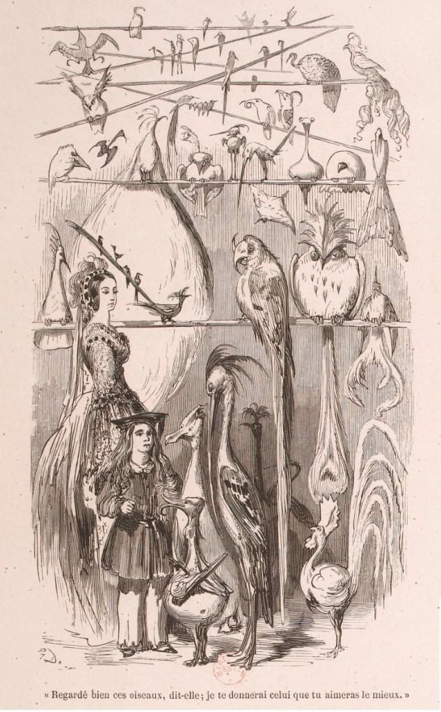 Tavola (incisione di Gustave Doré) fuori testo di Contes d'une vieille fille à ses neveux, di Émile de Girardin, uscito per i tipi di Michel Lévy Frères, a Parigi nel 1856