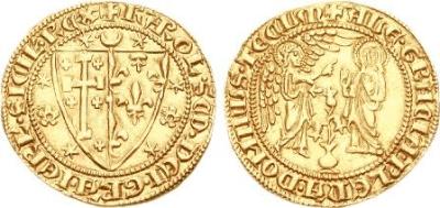Fig. 3. Saluto d'oro di Carlo II d'Angiò. Sul recto, stemma partito di Gerusalemme e d'Angiò antico senza il lambello.