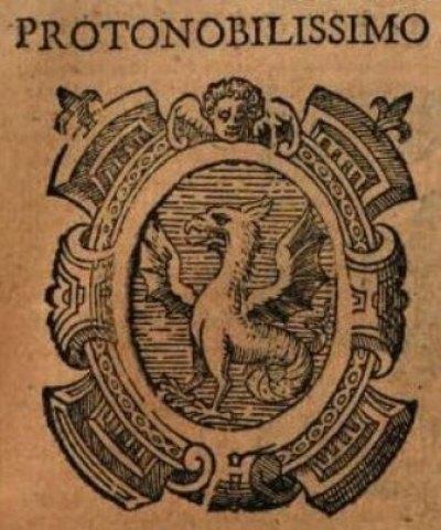 Fig. 10 .Stemma Protonobilissimo, incisione tratta da S. Mazzella, Descrittione del Regno di Napoli, Napoli 1601, p. 639