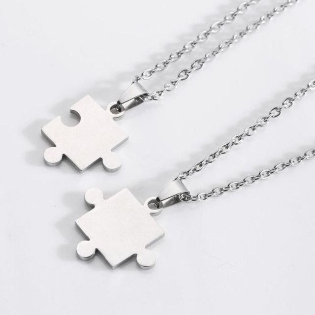 2 Piece Stainless Steel Jigsaw Puzzle Necklace