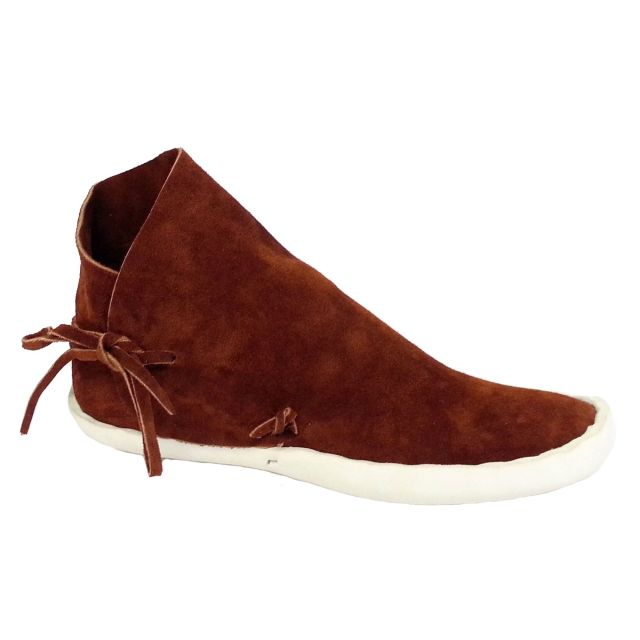 Men's No Button Moccasins w/ Thick Leather Sole - Rust / Regular / 5