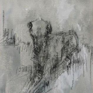 Chien assis, 35x27cm acrylique et fusain sur toile, Lucie Geffré 2017