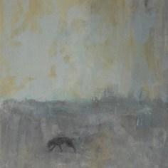 Chien sur la plage, 46x38 cm, technique mixte sur toile, Lucie Geffré 2020