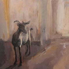 La chèvre, 81x100 cm, tecnique mixte sur toile, Lucie Geffré 2017
