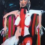 Nu frontal au fauteuil rayé, Serge Labégorre 2020, 80P 150x100 cm at#06