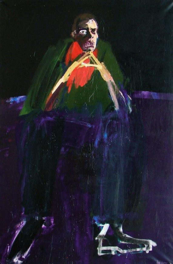 Auto portrait en jeune homme, serge labegorre 2009_ 195x130 cm 120F acrylique sur toile