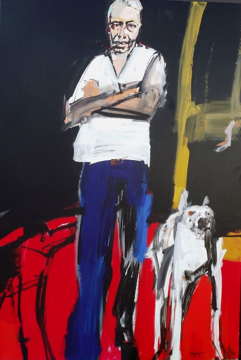 Autoportrait aux deux chiens, Labégorre 2016 195x130 cm, 120 Figure, acrylique sur toile
