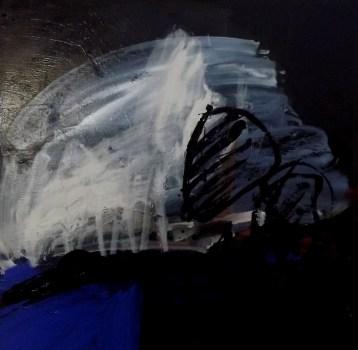 Crane blanc et noir sur bleu, Labégorre 2014_100x100 cm Acrylique sur toile