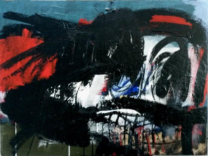 Grand crâne, Serge Labégorre 2003 _ 60x81 cm 25P acylique sur bois