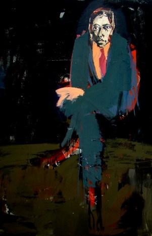Hommage à Guerrier, l'écrivain Michel D, Serge Labégorre 2016 _ 195x130 cm 120F acrylique sur toile