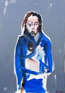 Jeune femme à la robe de chambre, Serge Labégorre 2015 _ 92 x 65 cm 25F acrylique sur toile
